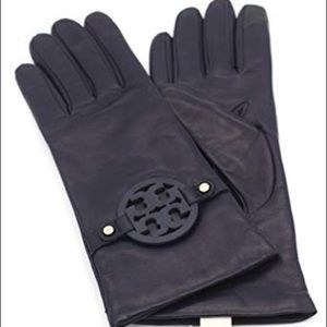 NWT Tory Burch Miller leather gloves navy size 7